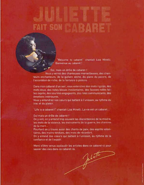 29 juliette fait son Cabaret-Programme